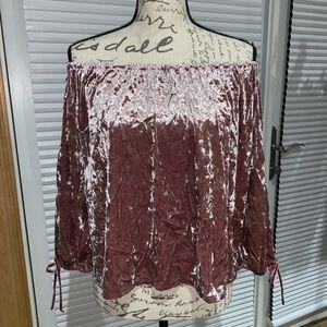 Off the shoulder Velvet crop top shirt